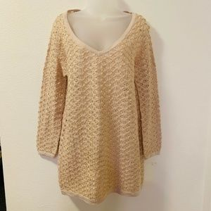 Free People New Romantics Tunic Sweater Crochet